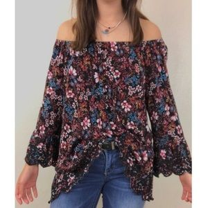 FEVER • Off Shoulder Floral Blouse •